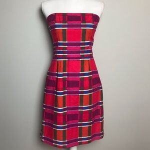 BANANA REPUBLIC strapless multicolor plaid dress